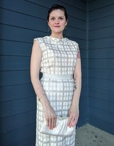 60s Style Shimmering Plaid Dress